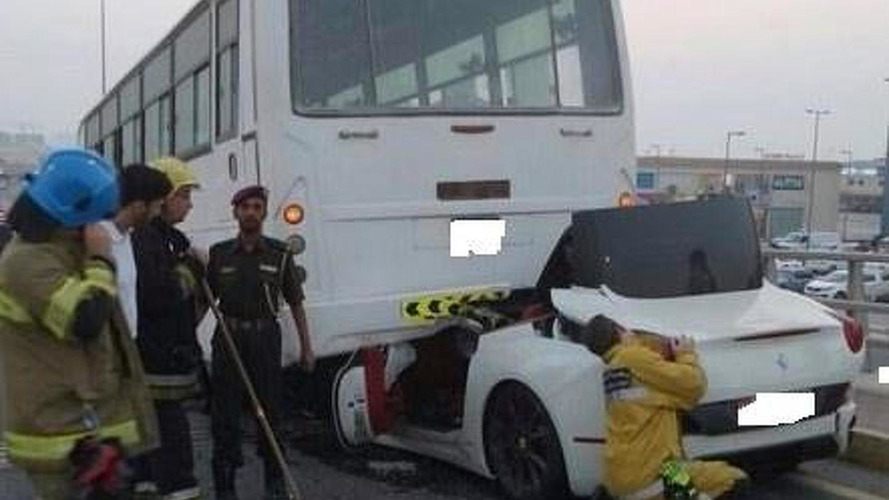 Ferrari California driver miraculously survives after hitting bus