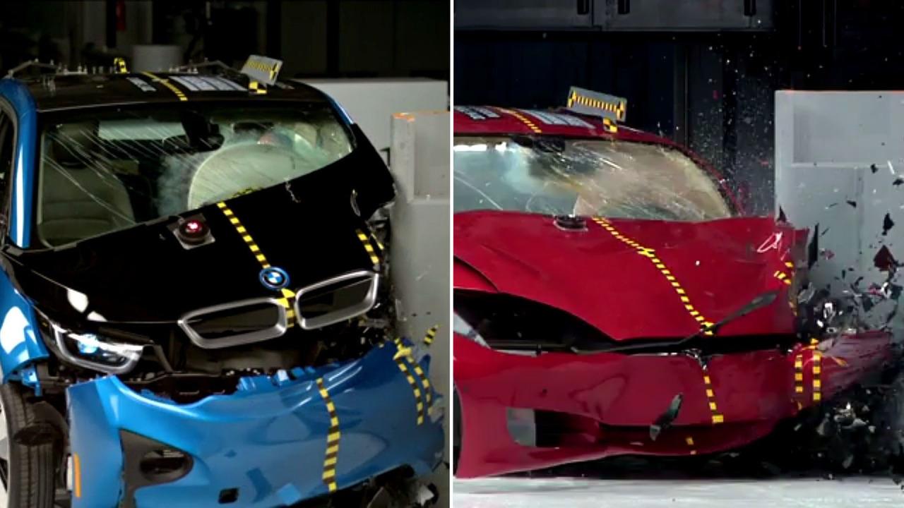 BMW Tesla crash test