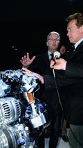Arnold Schwarzenegger visits Audi booth at Geneva motor show