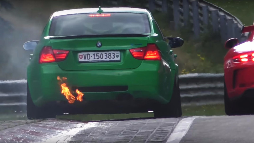 Flaming BMW Causes Cars To Go Off On The Nürburgring