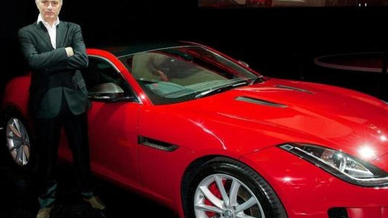 Jose Mourinho next to his brand new Jaguar F-Type Coupe
