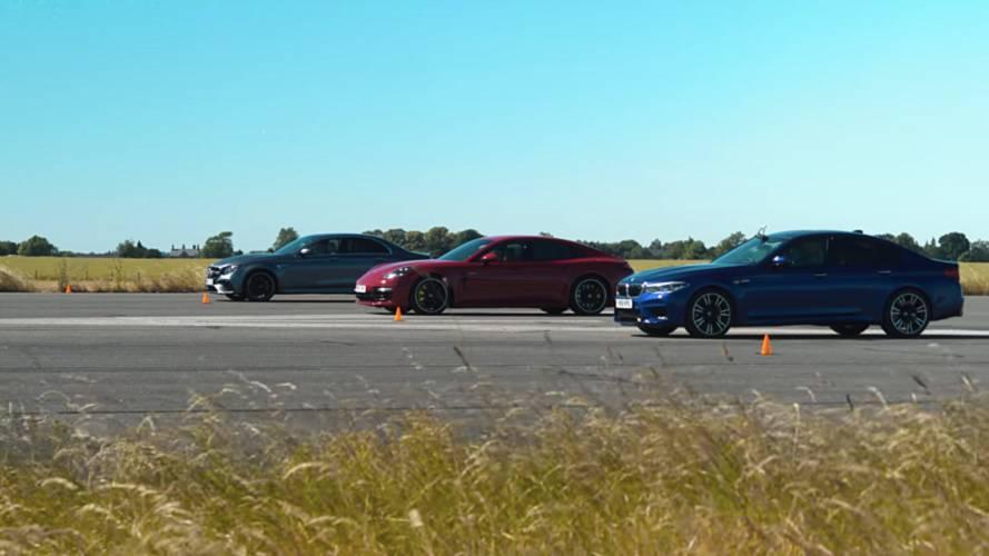 Watch M5, E63 S, Panamera Turbo S E-Hybrid In All-German Drag Race