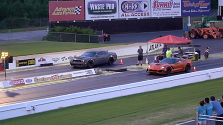 Demon Drag Races ZR1 On A Slippery Strip
