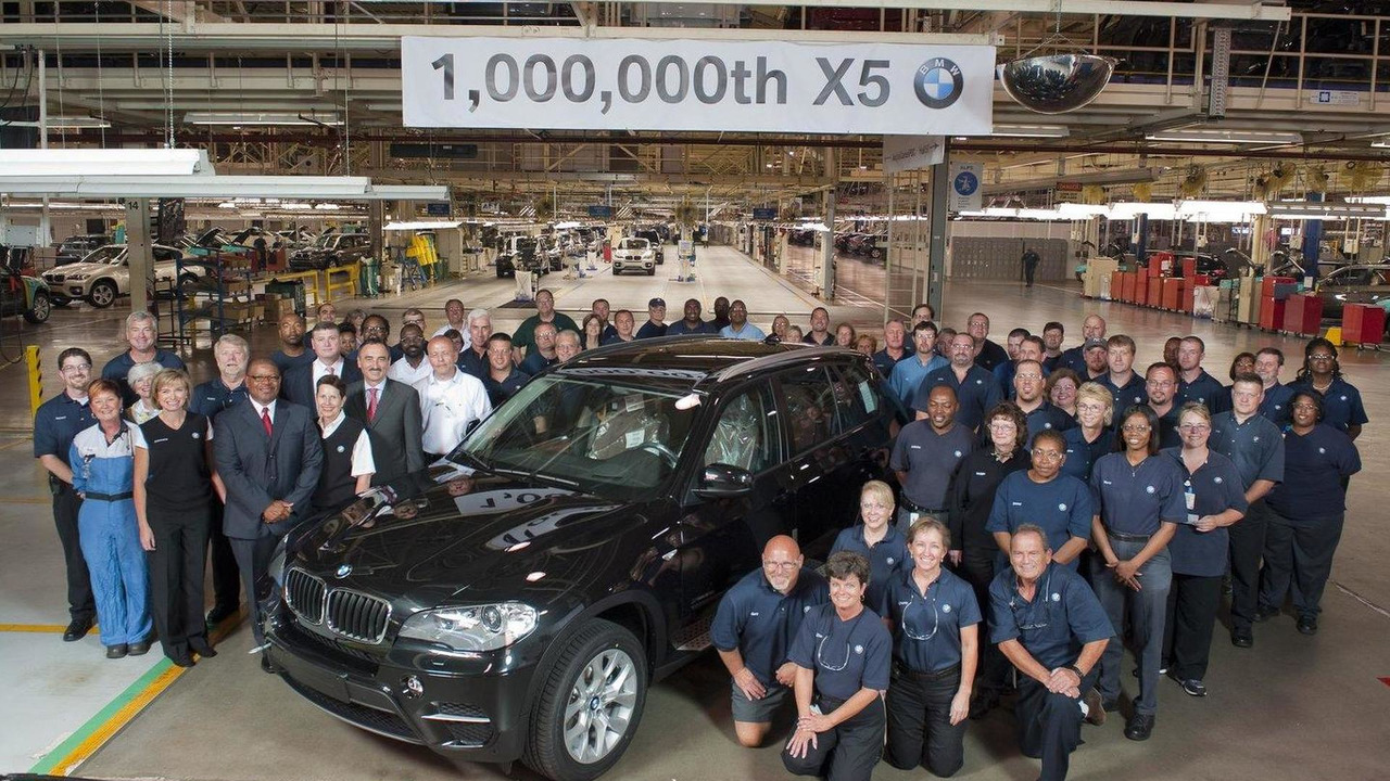 BMW Associates gather around the 1 millionth BMW X5. The vehicle rolled off the Assembly Line at BMW's Spartanburg Factory on June 8, 2010.