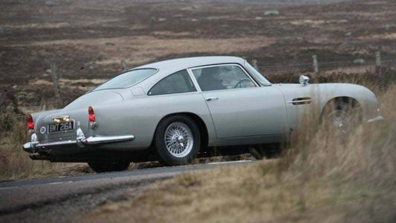 Iconic Aston Martin DB5 on set on new James Bond movie Skyfall near Glencoe