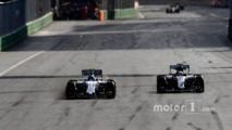 Valtteri Bottas, Williams FW38, battles with Lewis Hamilton, Mercedes F1 W07 Hybrid
