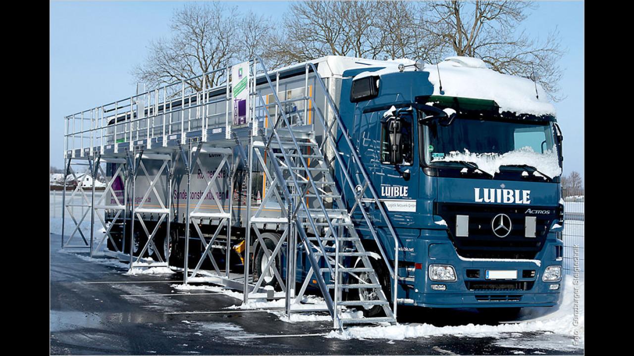 Eisige Gefahr vom LKW-Dach