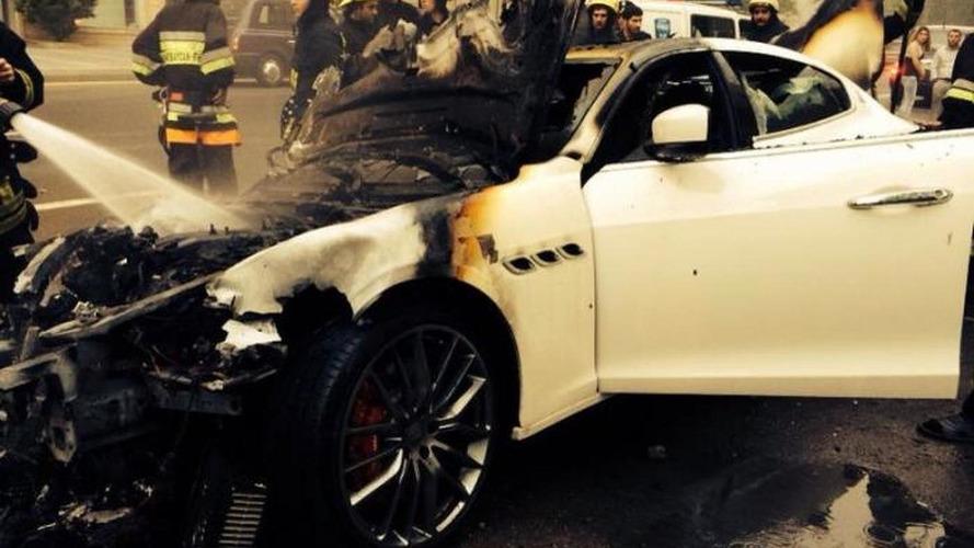 Maserati Quattroporte catches fire in Azerbaijan, burns to the ground