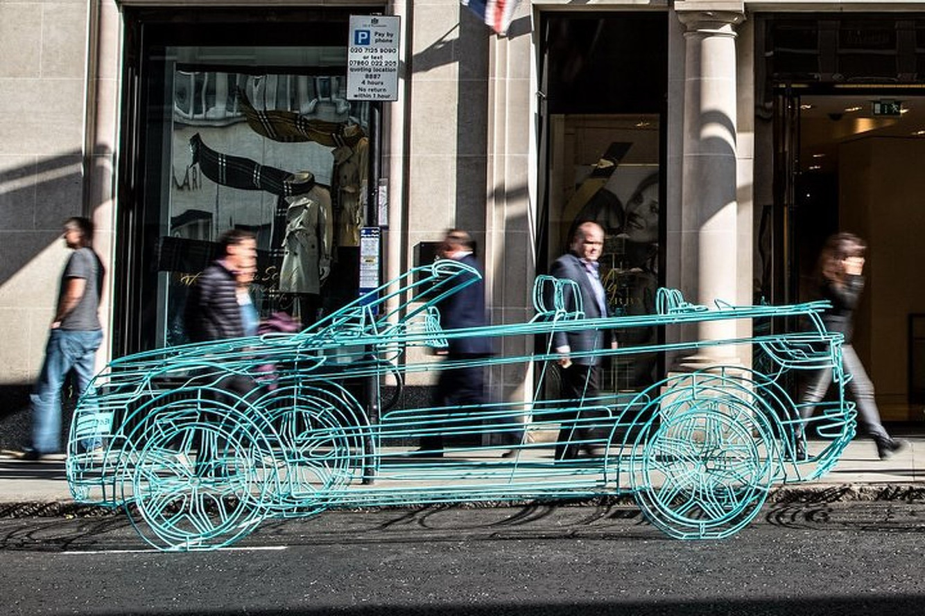 Land Rover Teases Evoque Convertible With London Wireframe Sculpture