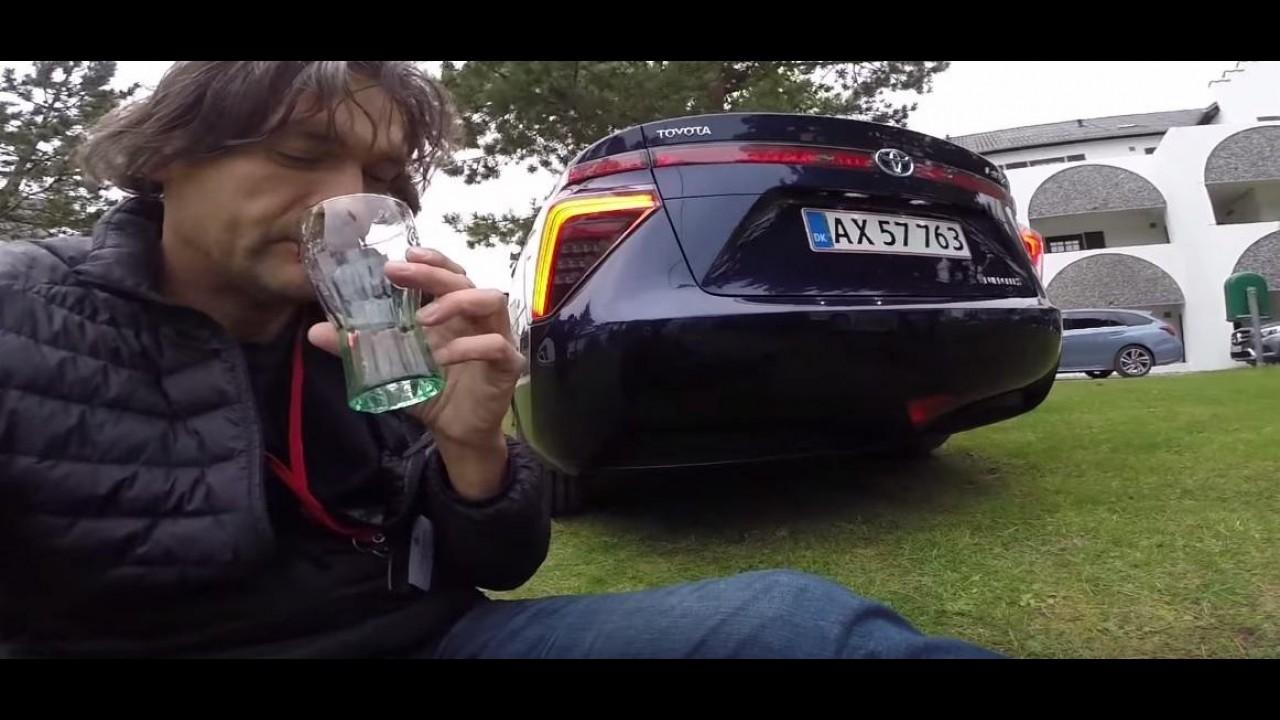 Será que é limpa? Jornalista bebe água liberada pelo escape do Toyota Mirai - vídeo