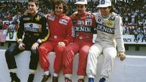 1986 World Championship contenders, Ayrton Senna, Lotus, Alain Prost, McLaren, Nigel Mansell, Williams, Nelson PIquet, Williams