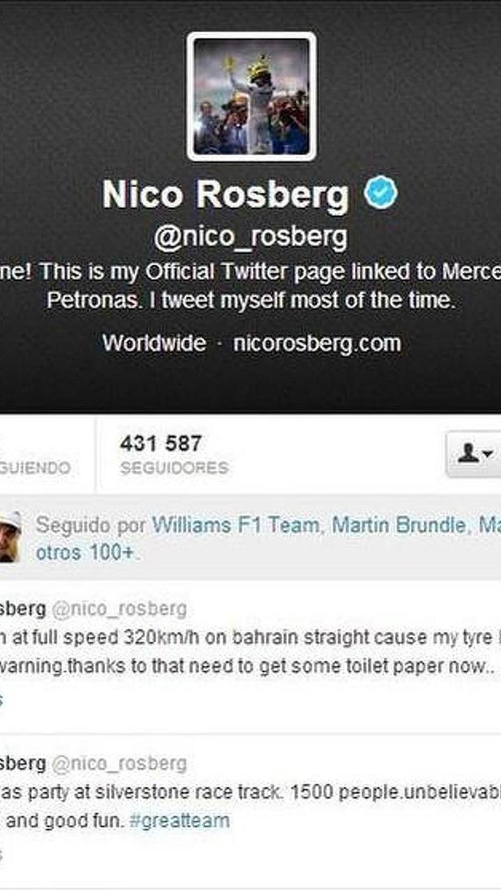 Nico Rosberg tire failure Tweet in Bahrain testing